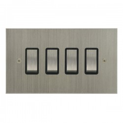 Focus SB True Edge TEASN11.4B 4 gang 20 amp 2 way rocker switch in Satin Nickel with black inserts