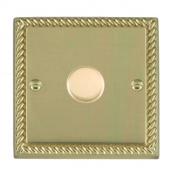 Hamilton Cheriton Georgian Polished Brass Push On/Off Dimmer 1 Gang Multi-way 250W/VA with Polished Brass Insert