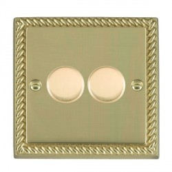 Hamilton Cheriton Georgian Polished Brass Push On/Off Dimmer 2 Gang 2 way Inductive 200VA with Polished Brass Insert