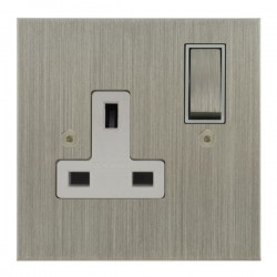 Focus SB True Edge TEASN18.1W 1 gang 13 amp switched socket in Satin Nickel with white inserts
