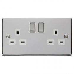 Click Deco Victorian Polished Chrome 2 Gang 13A Double Pole Ingot Switched Socket Outlet with White Inser...