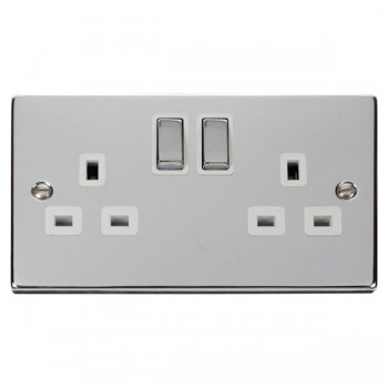 Click Deco Victorian Polished Chrome 2 Gang 13A Double Pole Ingot Switched Socket Outlet with White Insert
