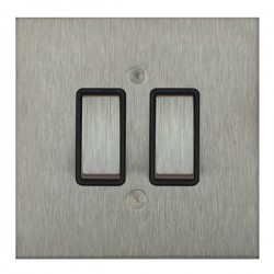 Focus SB True Edge TEASS11.2B 2 gang 20 amp 2 way rocker switch in Satin Stainless with black inserts