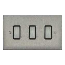 Focus SB True Edge TEASS11.3B 3 gang 20 amp 2 way rocker switch in Satin Stainless with black inserts