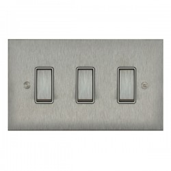 Focus SB True Edge TEASS11.3W 3 gang 20 amp 2 way rocker switch in Satin Stainless with white inserts