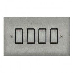 Focus SB True Edge TEASS11.4B 4 gang 20 amp 2 way rocker switch in Satin Stainless with black inserts
