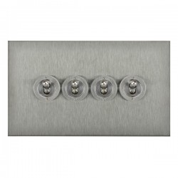 Focus SB True Edge TEASS14.4 4 gang 20 amp 2 way toggle switch in Satin Stainless