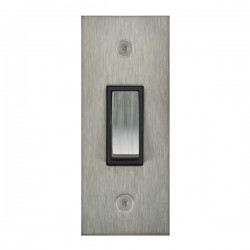 Focus SB True Edge TEASS16.1B 1 gang 20 amp 2 way architrave switch in Satin Stainless with black inserts