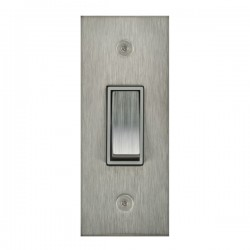 Focus SB True Edge TEASS16.1W 1 gang 20 amp 2 way architrave switch in Satin Stainless with white inserts