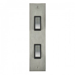 Focus SB True Edge TEASS16.2B 2 gang 20 amp 2 way architrave switch in Satin Stainless with black inserts