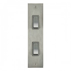 Focus SB True Edge TEASS16.2W 2 gang 20 amp 2 way architrave switch in Satin Stainless with white inserts