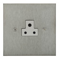 Focus SB True Edge TEASS19.1W 1 gang 2 amp unswitched socket in Satin Stainless with white inserts