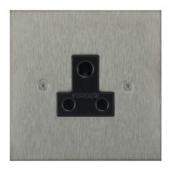 Focus SB True Edge TEASS20.1B 1 gang 5 amp unswitched socket in Satin Stainless with black inserts