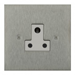 Focus SB True Edge TEASS20.1W 1 gang 5 amp unswitched socket in Satin Stainless with white inserts