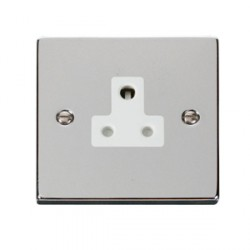 Click Deco Victorian Polished Chrome 5A Round Pin Socket Outlet with White Insert