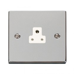 Click Deco Victorian Polished Chrome 2A Round Pin Socket Outlet with White Insert