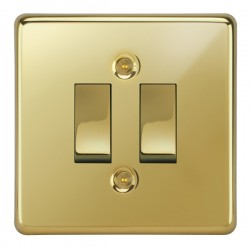 Focus SB Victorian VPB11.2 2 gang 20 amp 2 way rocker switch in Polished Brass