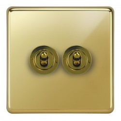 Focus SB Victorian VPB14.2 2 gang 20 amp 2 way toggle switch in Polished Brass