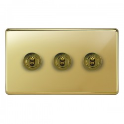 Focus SB Victorian VPB14.3 3 gang 20 amp 2 way toggle switch in Polished Brass