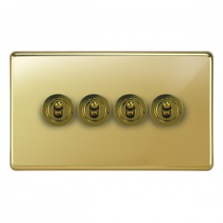 Focus SB Victorian VPB14.4 4 gang 20 amp 2 way toggle switch in Polished Brass