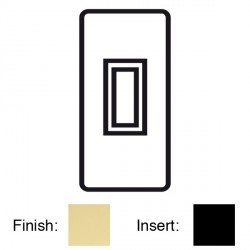 Focus SB Victorian V16.1B 1 gang 20 amp 2 way architrave switch in Polished Brass with black inserts