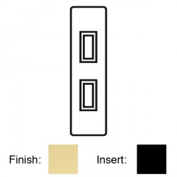 Focus SB Victorian V16.2B 2 gang 20 amp 2 way architrave switch in Polished Brass with black inserts