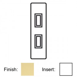 Focus SB Victorian V16.2W 2 gang 20 amp 2 way architrave switch in Polished Brass with white inserts
