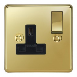 Focus SB Victorian VPB18.1B 1 gang 13 amp switched socket in Polished Brass with black inserts