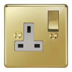 Focus SB Victorian VPB18.1W 1 gang 13 amp switched socket in Polished Brass with white inserts