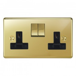 Focus SB Victorian VPB18.2B 2 gang 13 amp switched socket in Polished Brass with black inserts