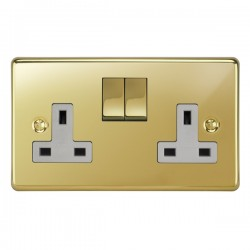 Focus SB Victorian VPB18.2W 2 gang 13 amp switched socket in Polished Brass with white inserts