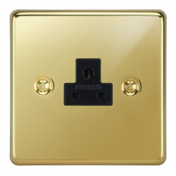 Focus SB Victorian VPB19.1B 1 gang 2 amp unswitched socket in Polished Brass with black inserts