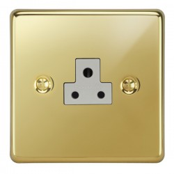 Focus SB Victorian VPB19.1W 1 gang 2 amp unswitched socket in Polished Brass with white inserts
