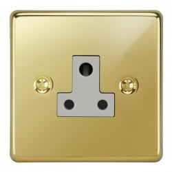 Focus SB Victorian VPB20.1W 1 gang 5 amp unswitched socket in Polished Brass with white inserts