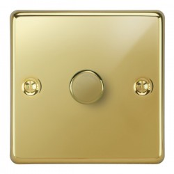 Focus SB Victorian VPB21.1 1 gang 2 way 250W (mains and low voltage) dimmer in Polished Brass
