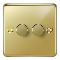 Focus SB Victorian VPB21.2 2 gang 2 way 250W (mains and low voltage) dimmer in Polished Brass