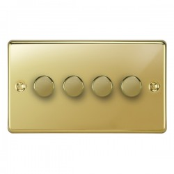 Focus SB Victorian VPB21.4 4 gang 2 way 250W (mains and low voltage) dimmer in Polished Brass
