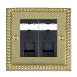Hamilton Cheriton Georgian Polished Brass 2 Gang RJ45 Outlet Cat 5e Unshielded with Black Insert