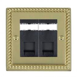 Hamilton Cheriton Georgian Polished Brass 2 Gang RJ45 Outlet Cat 5e Unshielded with Black Insert