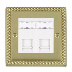 Hamilton Cheriton Georgian Polished Brass 2 Gang RJ45 Outlet Cat 5e Unshielded with White Insert
