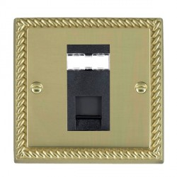 Hamilton Cheriton Georgian Polished Brass 1 Gang RJ45 Outlet Cat 5e Unshielded with Black Insert