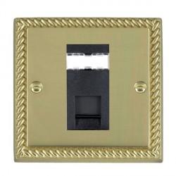 Hamilton Cheriton Georgian Polished Brass 1 Gang RJ45 Outlet Cat 5e Unshielded with Black Insert