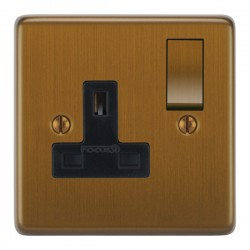 Focus SB Victorian VBA18.1B 1 gang 13 amp switched socket in Bronze Antique with black inserts