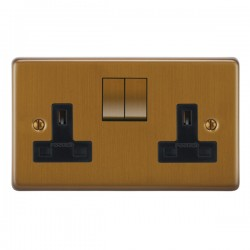 Focus SB Victorian VBA18.2B 2 gang 13 amp switched socket in Bronze Antique with black inserts