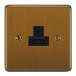 Focus SB Victorian VBA19.1B 1 gang 2 amp unswitched socket in Bronze Antique with black inserts