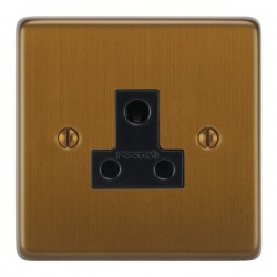 Focus SB Victorian VBA20.1B 1 gang 5 amp unswitched socket in Bronze Antique with black inserts