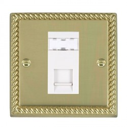 Hamilton Cheriton Georgian Polished Brass 1 Gang RJ45 Outlet Cat 5e Unshielded with White Insert