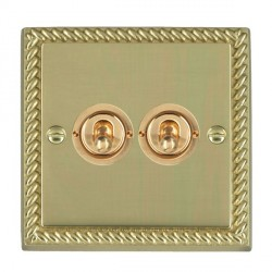 Hamilton Cheriton Georgian Polished Brass 2 Gang 2 Way Dolly with Polished Brass Insert