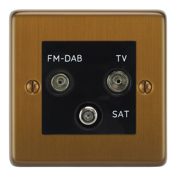 Focus SB Victorian VBA80 3B triplex TV/FM/Satellite outlet in Bronze  Antique with black inserts