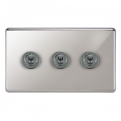Focus SB Victorian VPC14.3 3 gang 20 amp 2 way toggle switch in Polished Chrome